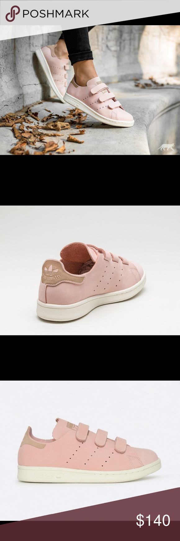 cheaper 4b8e9 34a1b Adidas stan smith One of a kind! 3 velcro straps, Color Vapour Pink  Vapour  Pink  Off White (S32271) Adidas Shoes Athletic Shoes