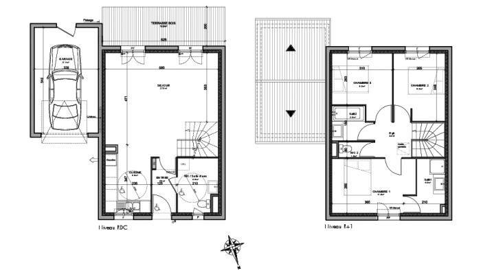 Cliquez pour agrandir le plan de maison neuve t4 de 86 for Plan maison t4