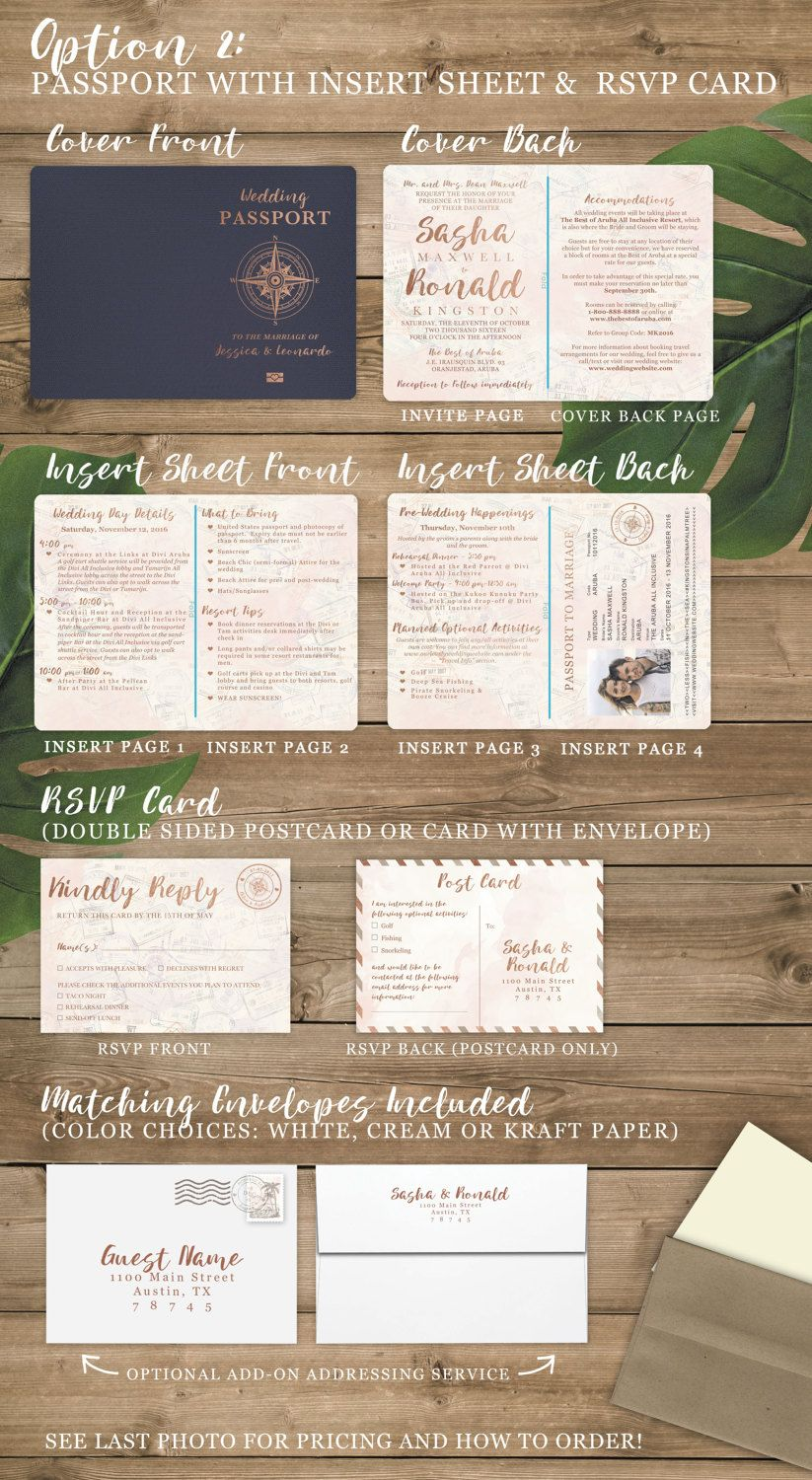 funny personal wedding card matter%0A Destination Wedding Passport Invitation Set in Rose Gold Watercolor  Tropical Design by Luckyladypaper  see details to order   Destination  wedding