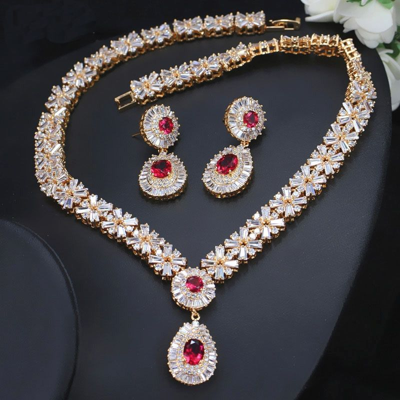 Pera CZ Classic Cubic Zirconia Gold Color Nigerian Wedding African Costume Big Statement Jewelry Set #nigerianischehochzeit