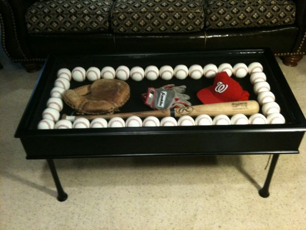 Display Coffee Table Made With Baseball Bats For Legs