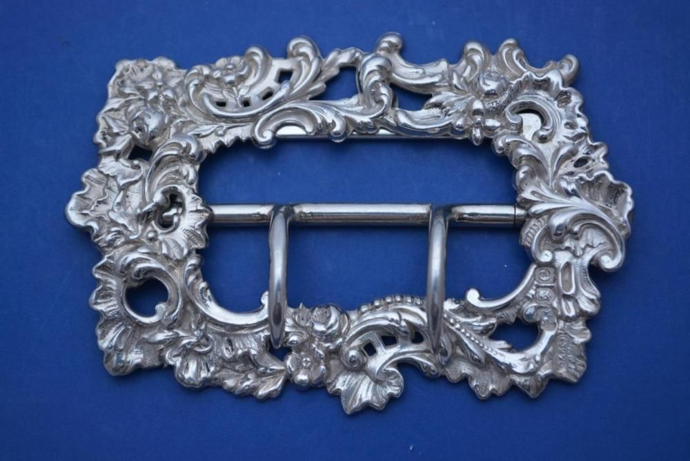Antique English Hallmarked Solid Silver ORNATE  Belt Buckle 36.8g LONDON 1900