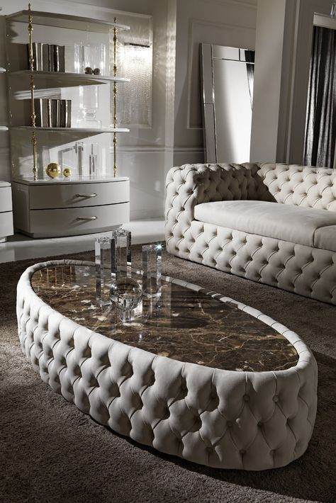 Modern Button Upholstered Nubuck Leather Oval Coffee Table   Juliettes Interiors is part of Luxury sofa design - Modern Button Upholstered Nubuck Leather Oval Coffee Table at Juliettes Interiors