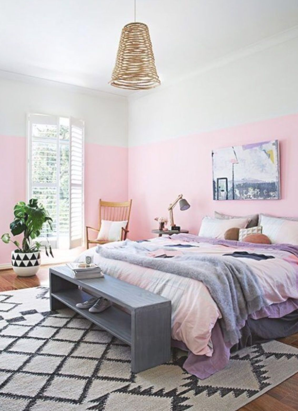 A bicolor bedroom wall - 10 Pink ideas for your dreamy home. Forget ...