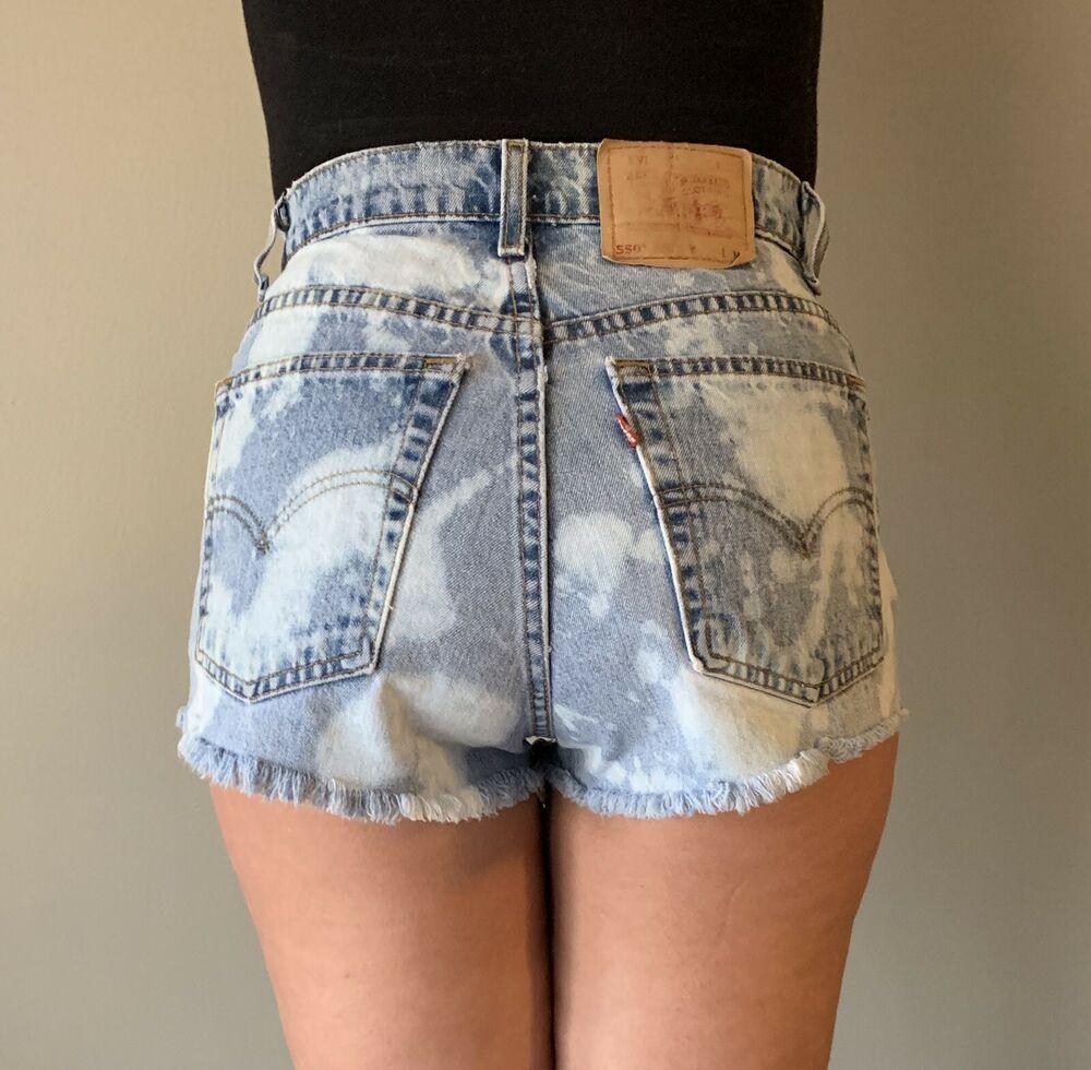 LEVIS 550 Vintage 80s High Waist Denim Cutoff Shorts Women's Waist Size 29 #Levis #Cutoffs #Casual #denimcutoffshorts