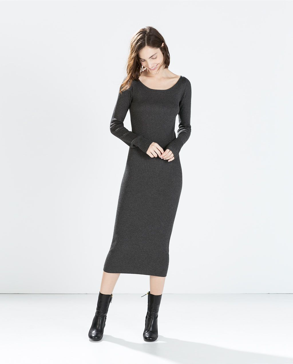 75987b817916 Image 1 of LONG RIBBED DRESS from Zara | apparel clothing style ...