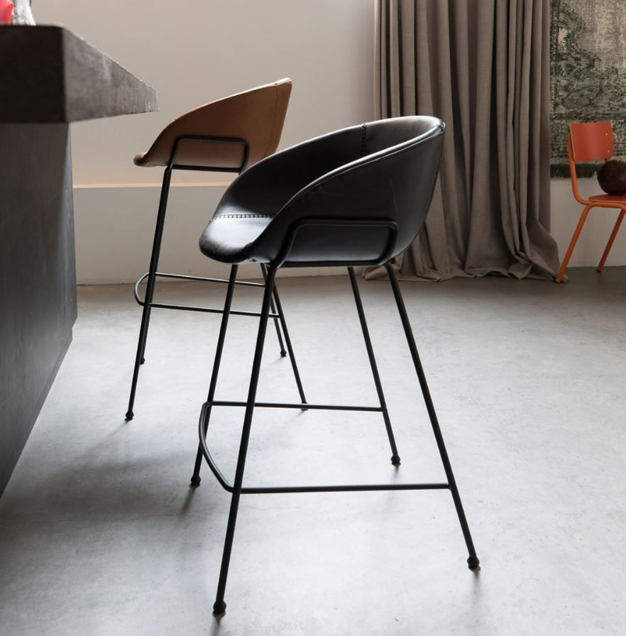 Tabouret Cuir Design Feston Noir Zuiver Barkruk Thuis Keuken