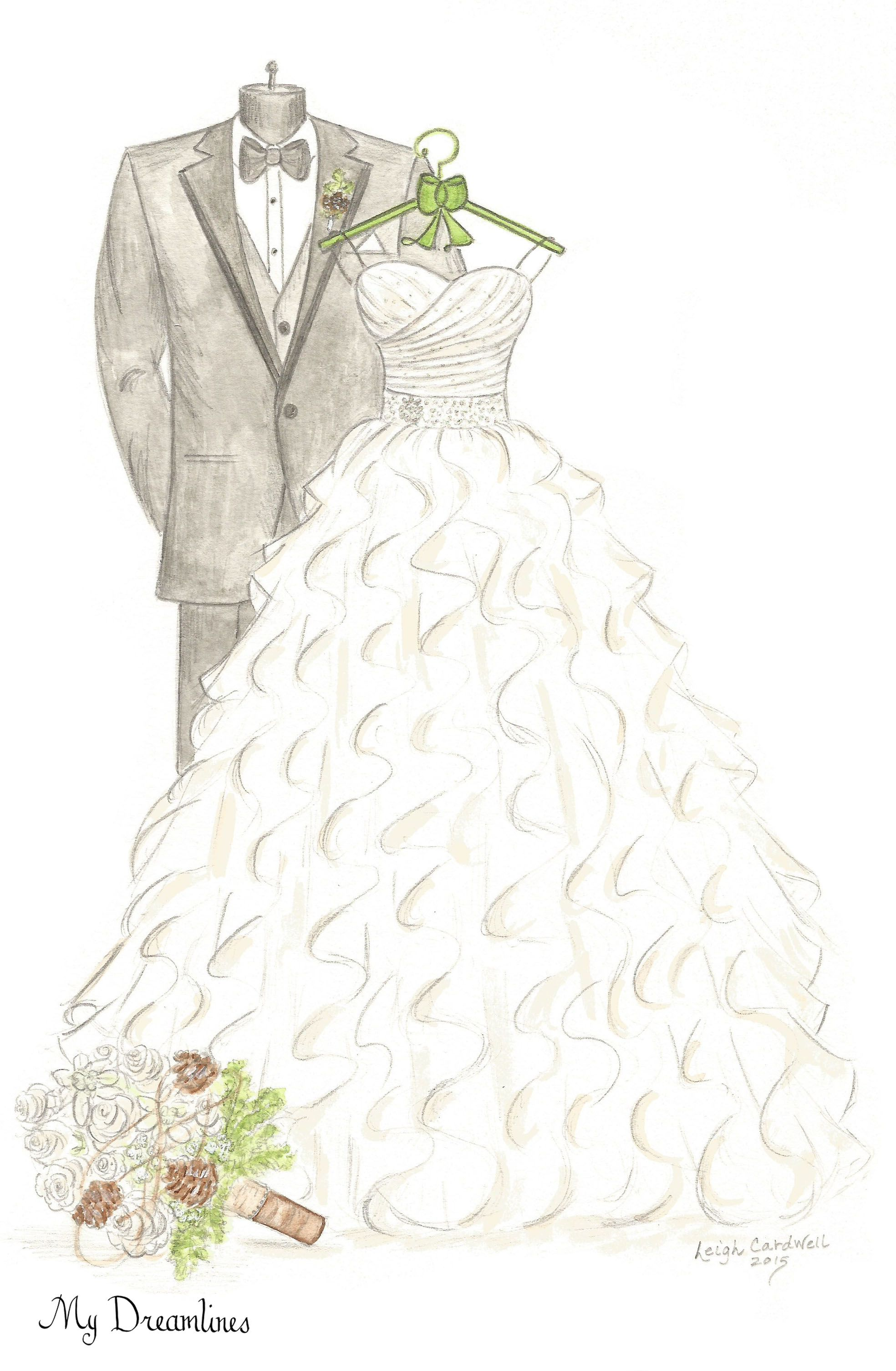 Dreamlines Wedding Dress Sketch Give As An Anniversary Gift