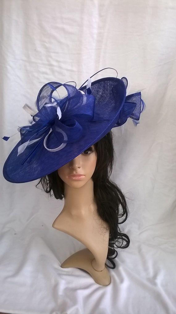 6e16c4a5a496c Sapphire Blue Fascinator..Stunning Sinamay Fascinator Hat on a  Headband..Hatinator