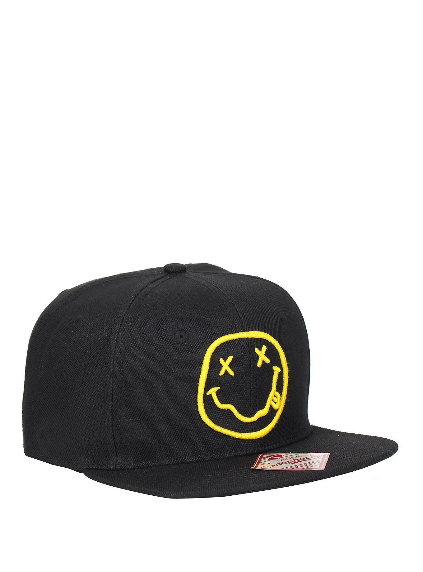 Official Nirvana Smiley Logo Black Baseball Cap Hat One Size Unisex Music Merch