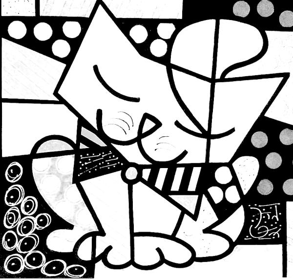 Telas Do Romero Britto Para Colorir Obras De Romero Britto Desenhos Do Romero Britto Romero Britto