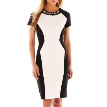 Trulli Short Sleeve Jewel Neck Contrast Panel Dress