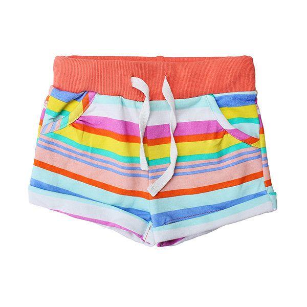 2015 New Little Maven Baby Girl Summer Stripe Cotton Beach Shorts Pants