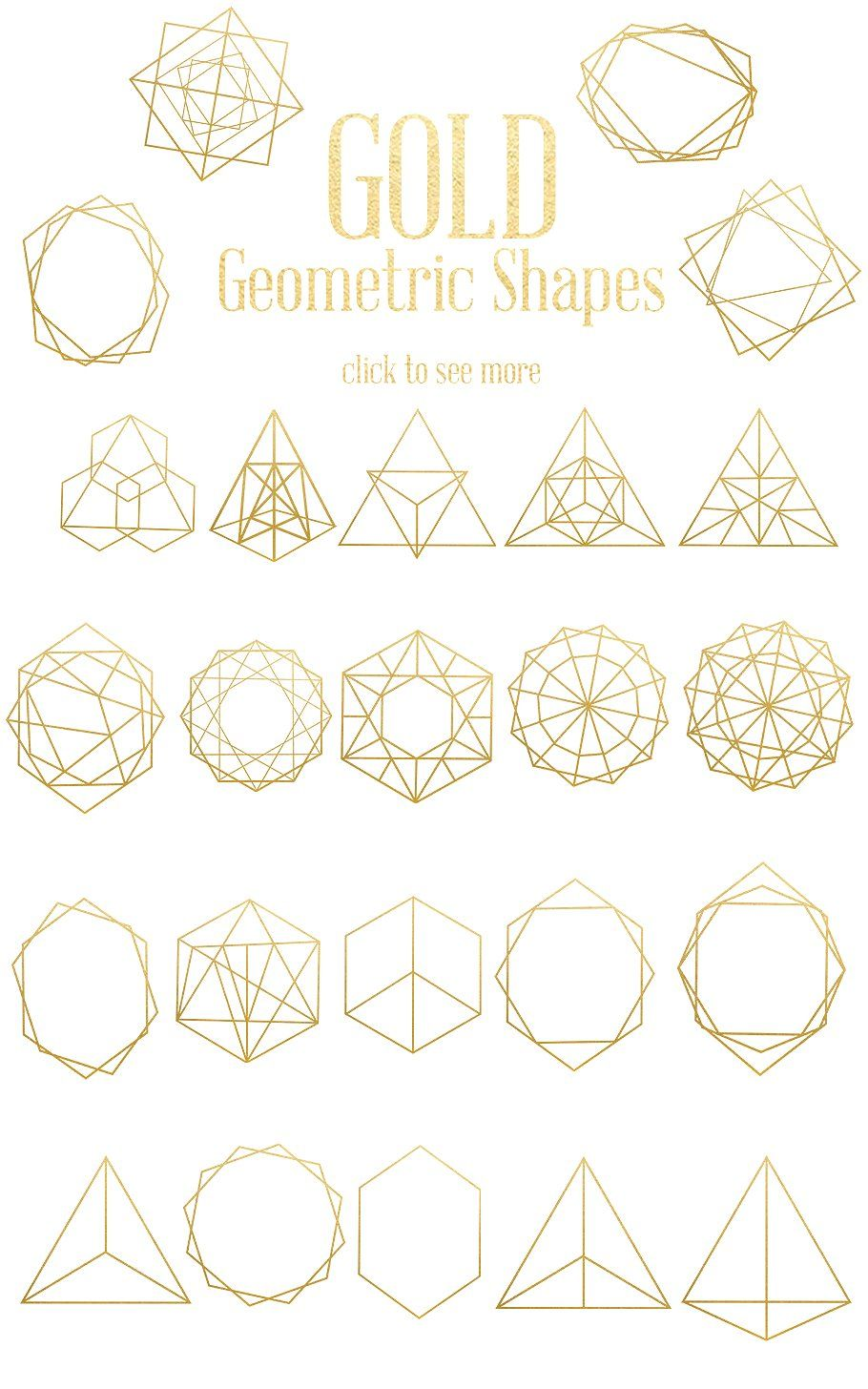 gold geometric shapes by dream in watercolor on @creativemarket