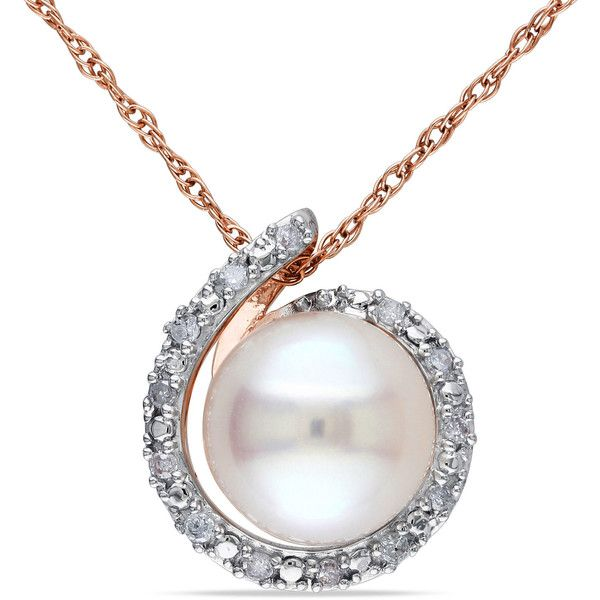 Zales 7.0mm Cultured Freshwater Pearl and Diamond Accent Loop Necklace in 10K Rose Gold - 16 1rS03W