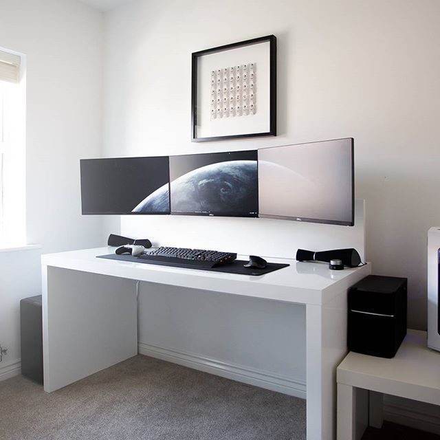 by jespyy desk 3x dell u2414h monitors xbox one lunar white controller corsair k70 rgb. Black Bedroom Furniture Sets. Home Design Ideas