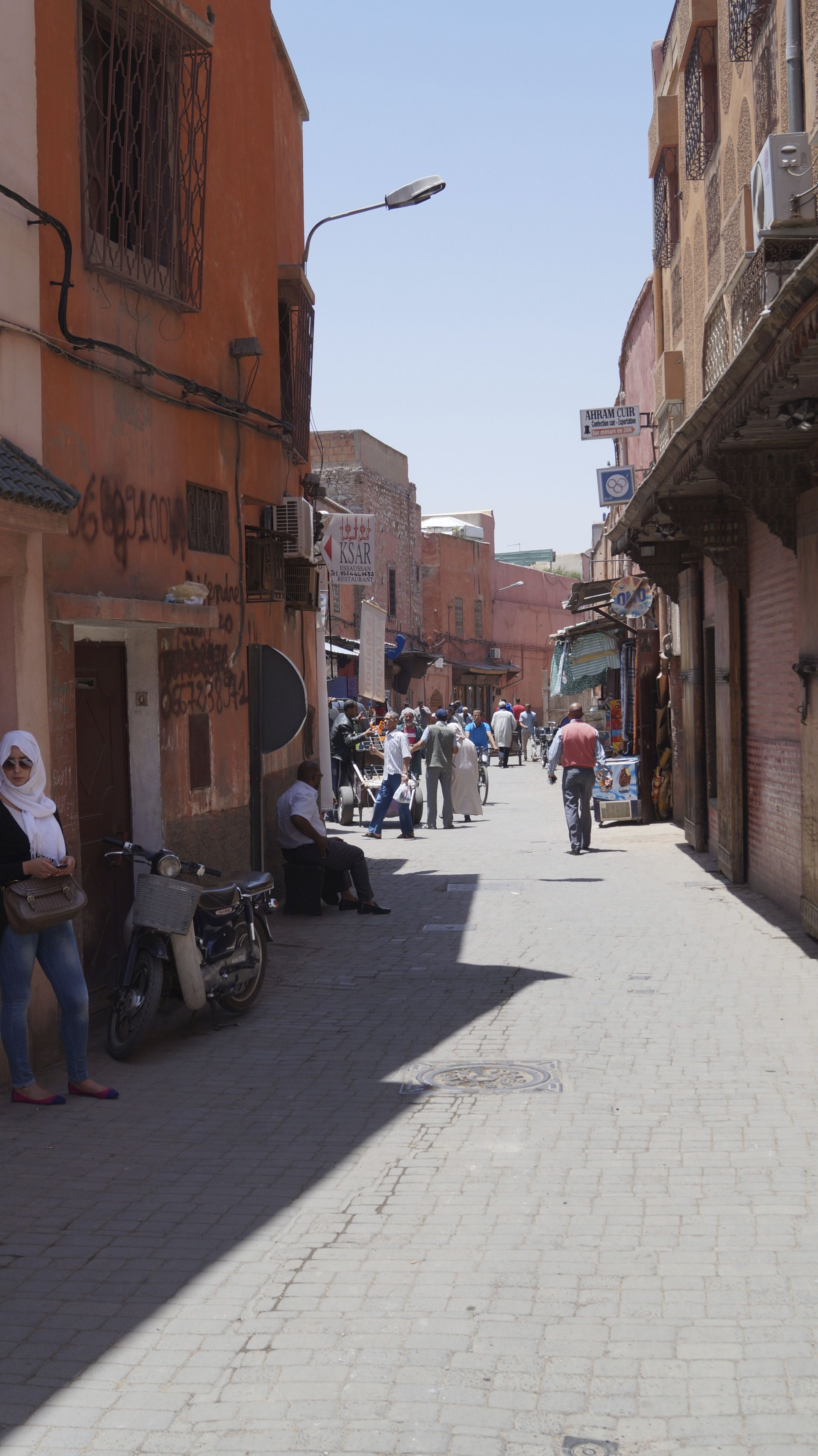 The medina is a walled city with extensive walled alleyway's from 6 to 9 meters providing many textures, light and shade with doorways to hidden treasure that exploring can only find as it is not offered!