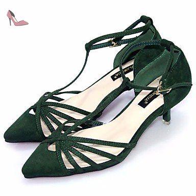 pwne Bottes Hiver Mary Jane PU talon occasionnels Plume Vert US5 / EU35 / UK3 / CN34 - Chaussures pwne (*Partner-Link)