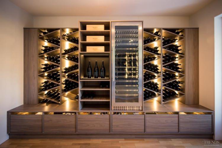 Large Custom Wine Storage Unit Makes Attractive Living Room