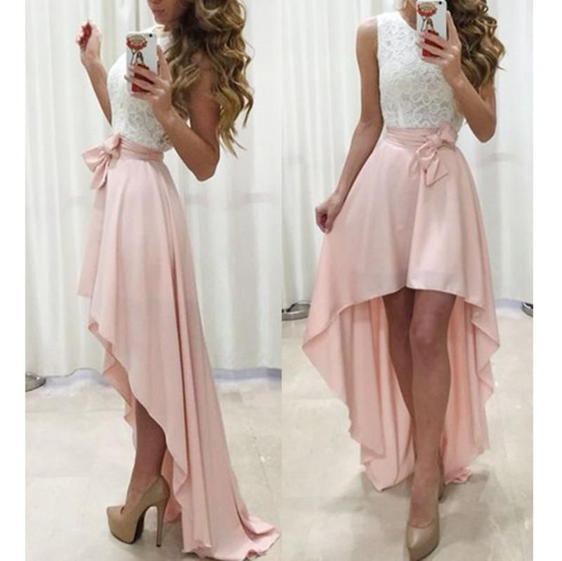 Lp3655 White And Pink High Low Prom Dress Girls Semi Formal Gown