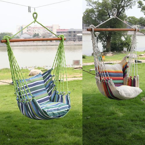 Hanging Seat Tree Hammock Swing Chair Camping Patio Outdoor Canvas Solid Wood Hammock Swing Chair Patio Swing Chair Hanging Chair Outdoor