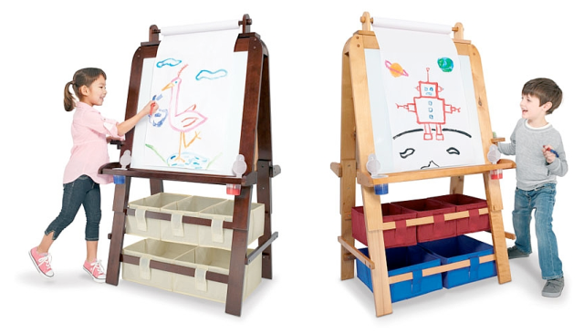 """Imaginarium Master Easels – $103.97 @ Toys """"R"""" Us If the little one on your list shows a talent for art, indulge their creative side with one of these stylish 'pro' easels. Available in modern espresso or maple finishes with plenty of storage space for supplies, a built-in paper roll holder for endless creativity, plus chalkboard and dry erase surfaces, this is an adorable, unexpected, and stylish choice for any kid's playroom. Oh, and it's on sale for this weekend only"""