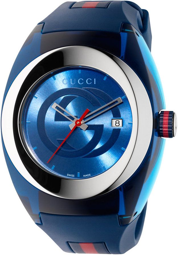 ac96b02f5f6 Gucci Sync Unisex Swiss Blue and Red Rubber Strap Watch 46mm YA137104