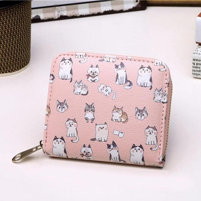 Vintage Cute Anime Cat Leather Women Slim Mini Wallet Girl Small Purse  Female Coin Credit Card Holder Dollar Price 85c56a1ba2