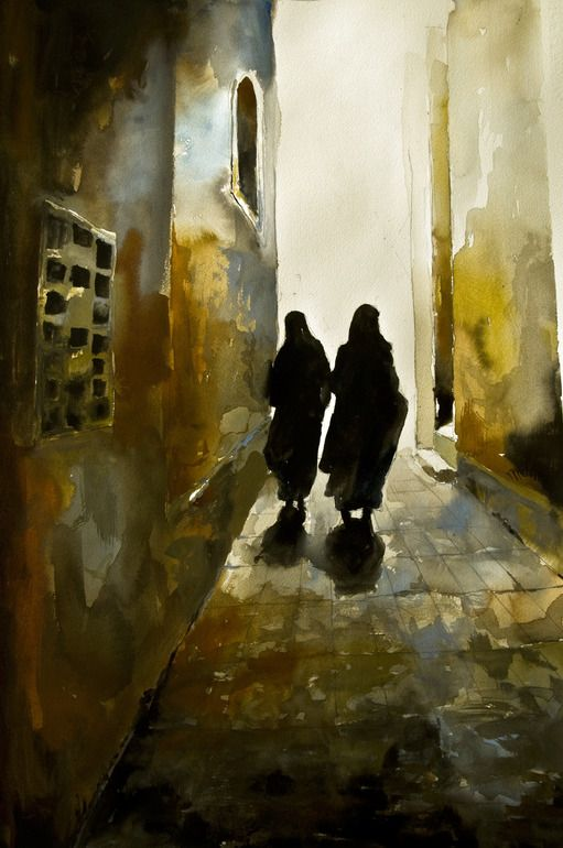 Book Cover Watercolor Painting : Morocco painting by martin wojnowski cities