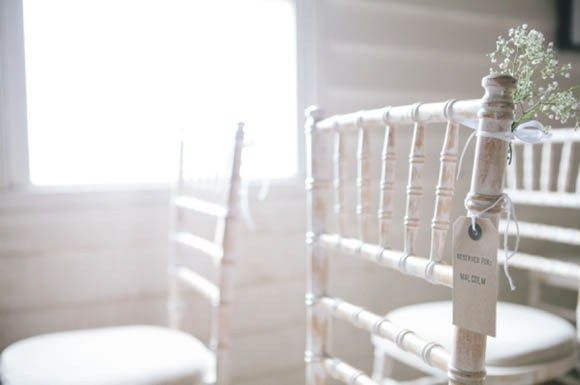 Gypsophila pew ends are perfect to add a character to the venue, especially with white furniture   Flowers by Triangle Nursery Ltd