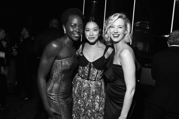 Lupita Nyong'o Photos - Image has been shot in black and white. Color version not available.) (L-R) Actors Lupita Nyong'o, Gina Rodriguez, and Yael Grobglasattend People and EIF's Annual Screen Actors Guild Awards Gala sponsored by TNT and L'Oreal Paris at The Shrine Auditorium on January 21, 2018 in Los Angeles, California. 27522_008 - 24th Annual Screen Actors Guild Awards - Gala