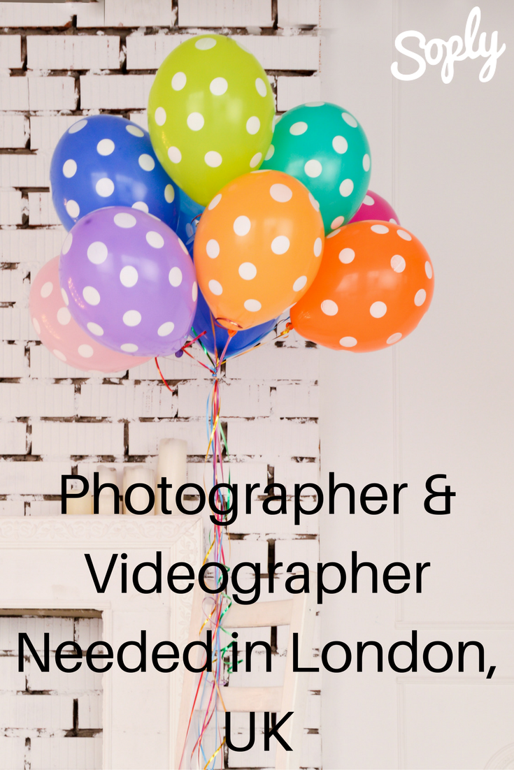 Photographer & videographer needed in Old Street London, UK. The event is a Bar Mitzvah party on April 9th. See the #job and apply by clicking the pin!