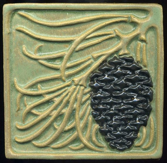 "Handmade Decorative Tiles Custom Craftsman Style Green Pine Cone Tile 5"" Square  Arts And Crafts Design Decoration"