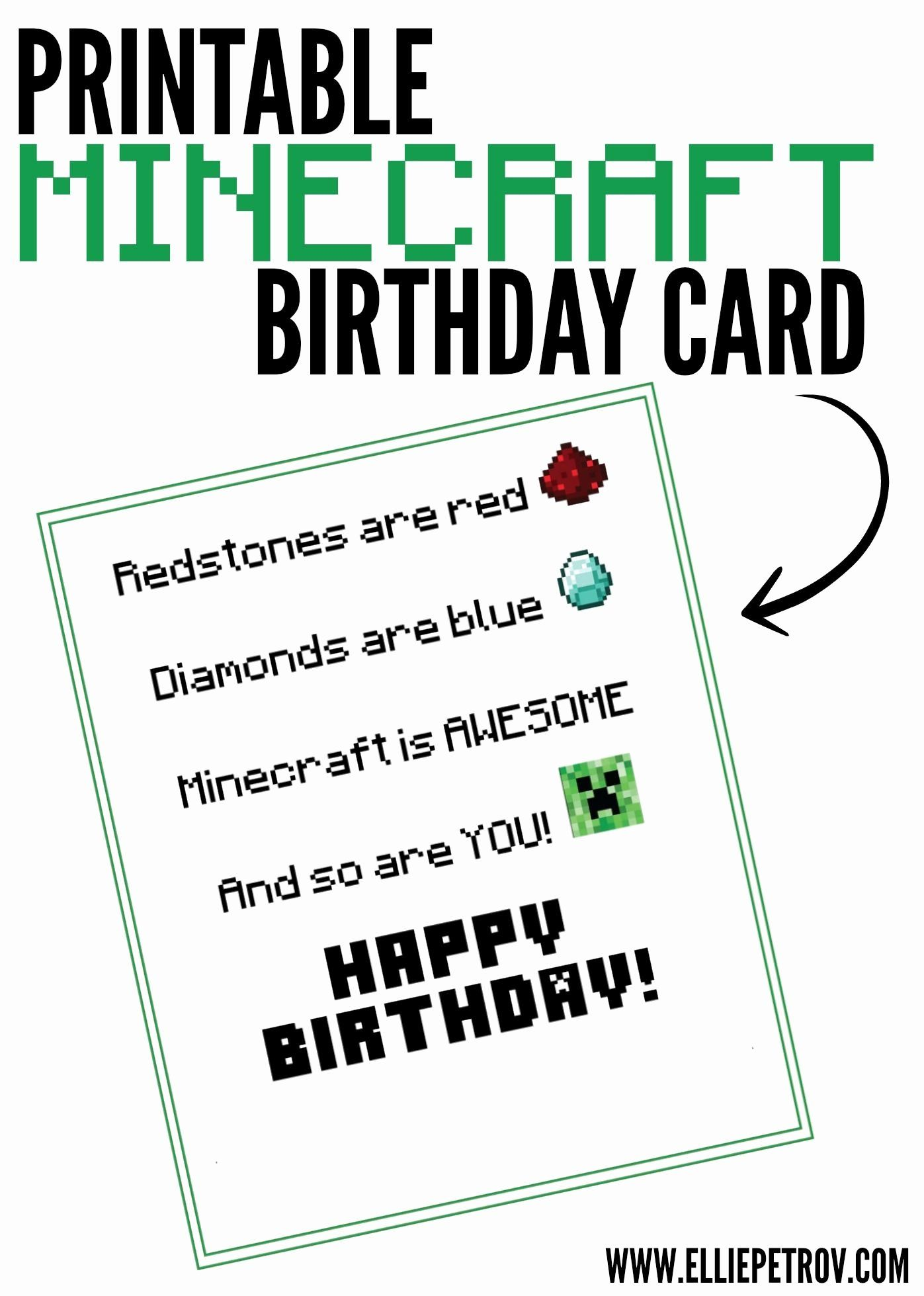 Minecraft Birthday Card Printable Unique Printable Minecraft Birthday Card Ellie Petrov Minecraft Birthday Card Birthday Card Printable Birthday Card Sayings