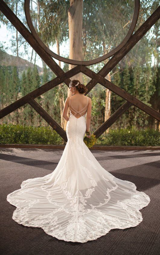 Romantic High Neckline FitandFlare Wedding Gown with