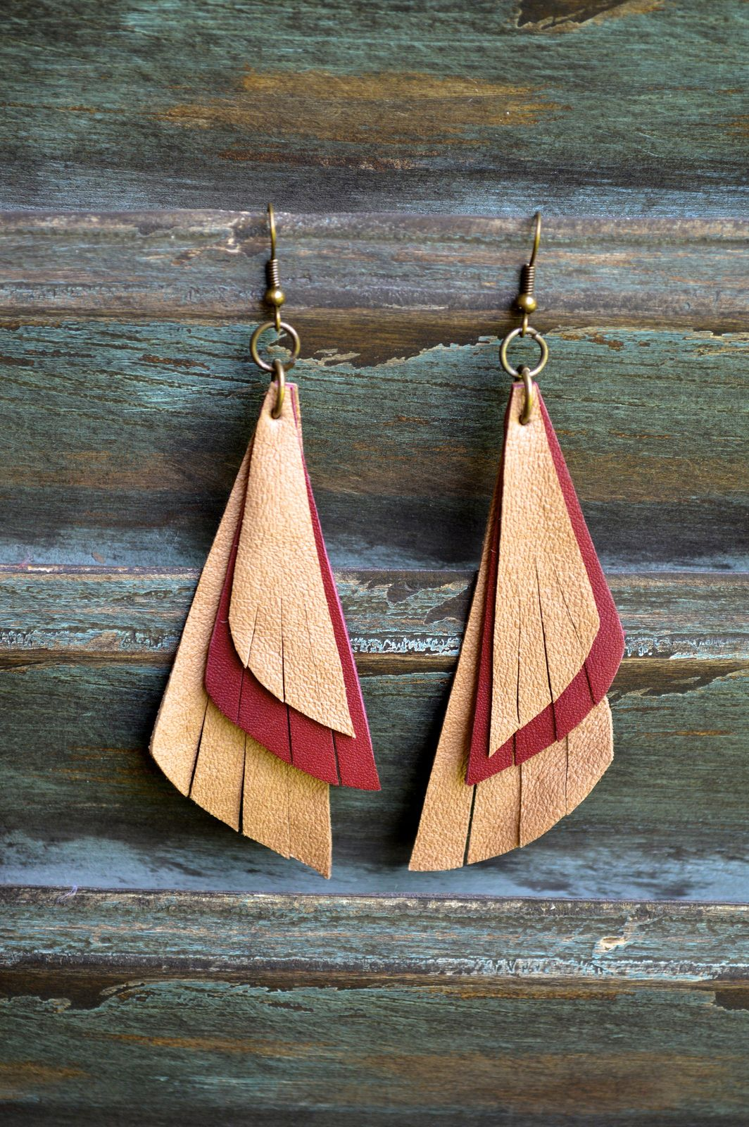 Handmade Leather Earrings from Thailand #126 $16