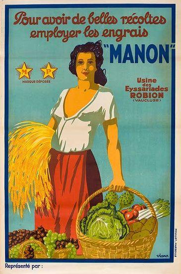 1930s Manon Fertiliser French vintage advert poster