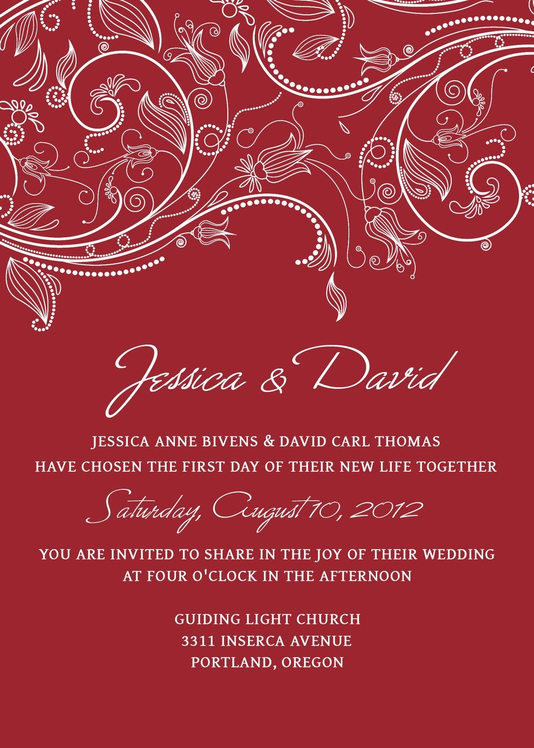 Wedding Invitation Templates PSD Photoshop - Red Crimson White