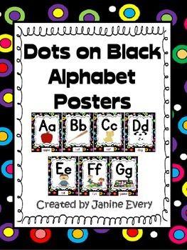 Alphabet Posters Polka Dots On Black Black Room Decor