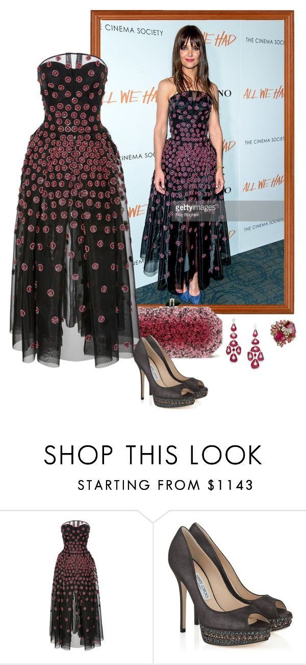 """""""Katie Holmes – 'All We Had' NY Premiere."""" by foreverforbiddenromancefashion ❤ liked on Polyvore featuring Marchesa, Zac Posen, Jimmy Choo, Ultimate and Betsey Johnson"""