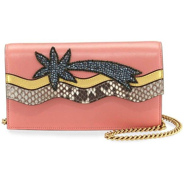 Gucci Broadway Shooting Star Clutch Bag (30.100 ARS) ❤ liked on Polyvore featuring bags, handbags, clutches, pink multi, gucci handbags, pink clutches, pink handbags, embroidered purse and python purse