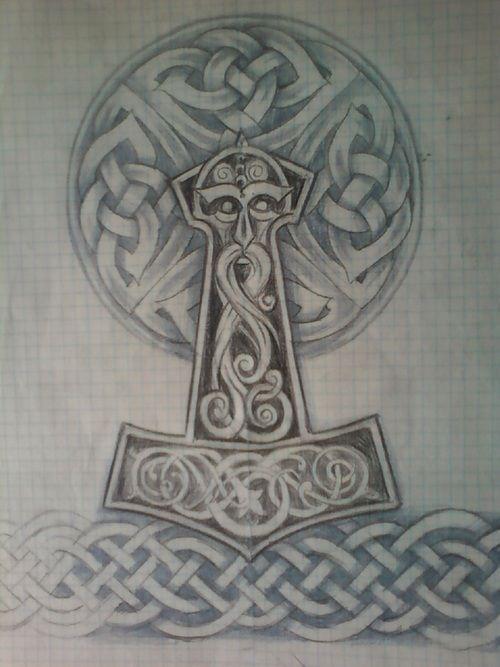 Thor Hammer Tattoo | Wikinger-tattoos, Thor hammer