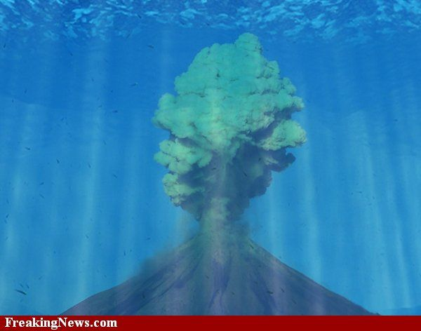Underwater Volcanic explosion, I think something like this ...
