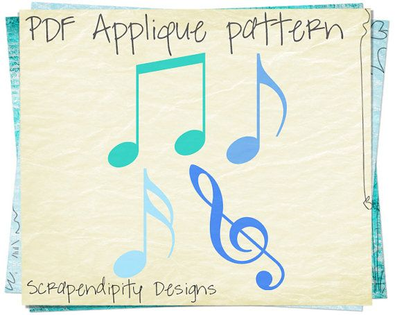 Musical Note Template Music Notes Applique Template Musical