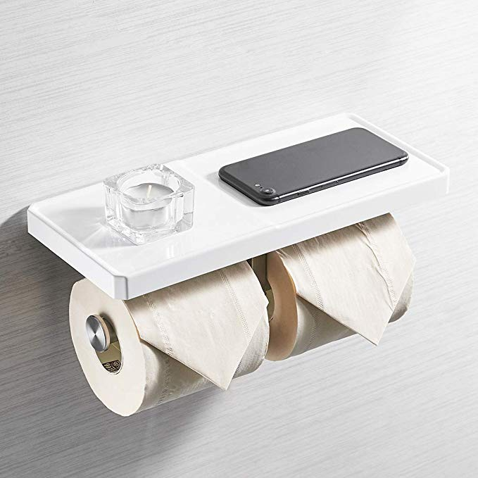 Amazon Com Aimadi Double Toilet Paper Holder With Shelf Abs Stainless Steel 2 In 1 Wall Moun Toilet Paper Holder Bathroom Tissue Bathroom Toilet Paper Holders