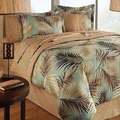 Kona Palm Tree 4 Pc Full Size Comforter, Tropical Beach Bedding