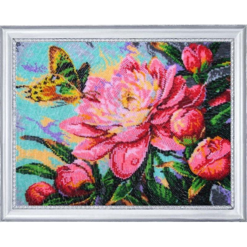 Bead Embroidery Kit Gentle shine Flowers DIY Beadwork Beading Hand embroidery Beaded Stitching