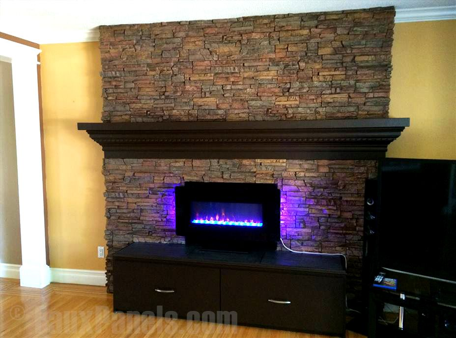 Stone veneer and Fireplace design