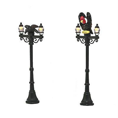 Dept 56 Halloween Village Waiting Lunch Streetlights Vulture Lit Set 4047621 NEW | eBay
