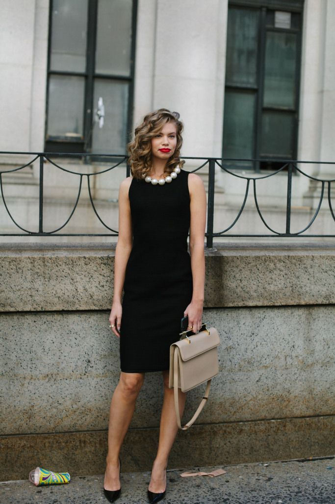 Black Evening Dress with Chunky Necklace